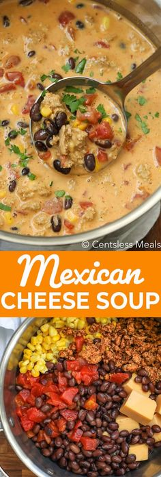 This Mexican Cheese Soup is so hearty and filling that it truly is a meal in itself, and is perfect for a weeknight dinner or lunch. Chicken, corn beans and tomatoes, all smothered in a cheesy and spicy beef broth makes this soup so satisfying. Roast Beef Sandwich, Sandwich Bar, Soup And Sandwich, Sandwiches, Mexican Food Recipes, Vegetarian Recipes, Healthy Recipes, Mexican Cheese Soup Recipe, Spicy Mexican Food