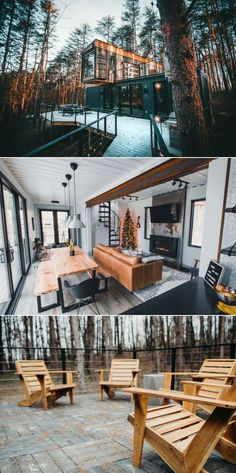 This Shipping Container Home in Ohio is Available for Rent on Airbnb Perched amidst a grove of pine trees in Hocking Hills, this vacation rental near Columbus, Ohio is one-of-a-kind retreat built from three shipping containers. Dubbed The Box Hop, it is a Shipping Container Home Designs, Shipping Container House Plans, Shipping Containers, Shipping Container Interior, Shipping Container Buildings, Quonset Hut Homes, Log Cabin Homes, Barn Homes, Building A Container Home