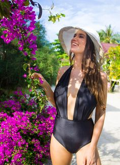 ❤ High Waisted One Piece Swimsuit - Handmade in a Vintage Inspired Design - This is Such a Figure Flattering Swimming Costume! ❤  ❤ In Stunning Classic Black ❤  This swimsuit is everything that swimwear should be... cute, fun & gorgeous, yet at the same time jawdroppingly sexy and most