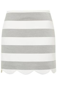 Striped Scallop Hem Mini Skirt. This is so cute I would break my general aversion to minis for this! Grey, stripes, scallops, what's not to love!
