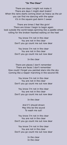 In The Clear...... Foo fighters