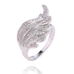 Handmade 18K White Gold and White Sapphire Wing Ring Size 7 & 8 + Box