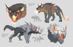 ArtStation - Hellhounds and handler, Oliver Titley Monster Concept Art, Alien Concept Art, Creature Concept Art, Fantasy Monster, Monster Art, Creature Design, Cute Fantasy Creatures, Mythical Creatures Art, Mythological Creatures