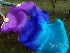 1 pair Chinese belly dance silk fan veil by silkbamboo on Etsy, $32.00