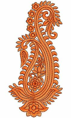White Cotton Paisley Embroidery Design