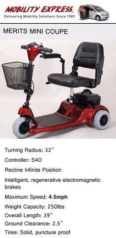 The Merits Mini Coupe is a great option for people who want to get around and have limited movement of hips and/or legs. #elderly #senior #assistedliving #handicapped