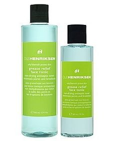 Ole Henriksen Grease Relief-Face Tonic-7 oz by Ole Henriksen. $21.00. Keep breakouts at bay, and refine pores, with this effective and purifying tonic.. A completely balanced formulation, cannot be over-used.. Active ingredients, such as Lactic Acid and Golden Seal help to disinfect, and renew, while calming and balancing.. For skin that's oily and prone to breakouts. This extra strength formulation tightens your pores and is very healing and soothing. Ole Hen...