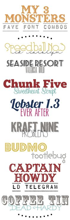 My 3 Monsters: Favorite Font Combos