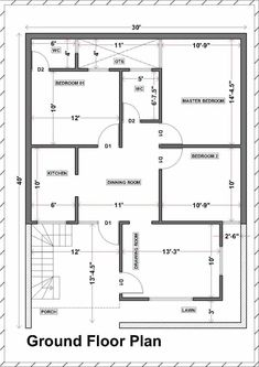 30x40 House Plans, Bedroom House Plans, Unique House Plans, Family House Plans, Studio Floor Plans, House Floor Plans, Free House Design, Floor Plans 2 Story, Simple Floor Plans