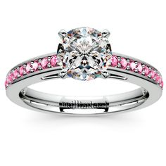 Cathedral Pink Sapphire Gemstone Engagement Ring in White Gold