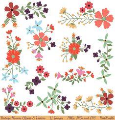 Vintage Flowers Clipart Clip Art and Vectors, Flower Decoration Clipart Clip Art - Commercial and Personal