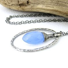 Adorned Shimmer Necklace in Cornflower Blue Quartz and Sterling Silver by JenniferCasady, $39.00