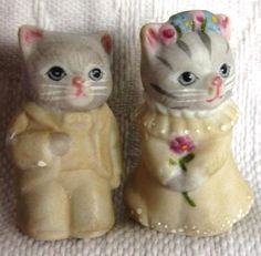 Thimble-Bisque-Cat-SCHMID-B-SHACKMAN-KITTY-CUCUMBER-Wedding-Bride-Groom-Lot