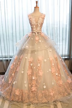 Cute round neck lace applique long prom gown, lace evening dress
