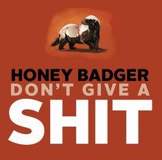 Honey Badger don't care! Honey Badger don't give a SHIT!