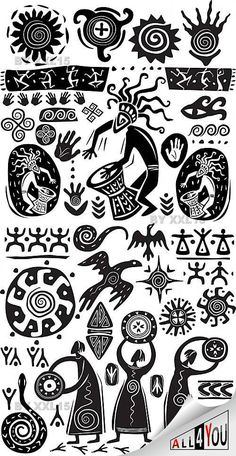 African Symbols, Tribal Symbols, Native American Symbols, Tribal Pattern Art, Aztec Art, African Tribal Patterns, Tatoo Africa, Motifs Aztèques, Afrique Art