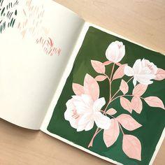 Dreaming of pink leaves and cherry blossoms. . . . . . . #gouachepainting #gouache #sundaysketch #illustratorsoninstagram #surfacepattern #printandpattern