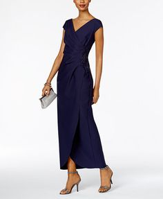 bd1826d33cb2 Alex Evenings Petite Ruched A-Line Gown