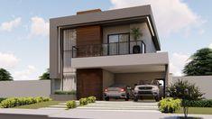 Home Building Design, Building A House, House Design, Modern House Floor Plans, Casas The Sims 4, Facade, Mansions, House Styles, Merida