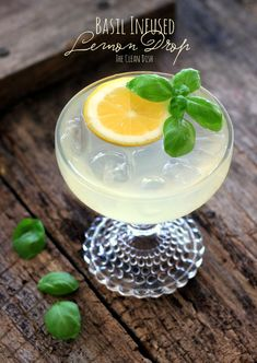 Basil Infused Lemon Drop Cocktail {refined sugar free, grain free, gluten free}