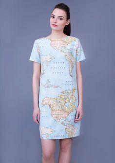 Blue World Map Print Women's Cotton Dress / Summer look / handmade by MadosButas Cotton Dresses, Blue Dresses, Summer Dresses, Short Outfits, Dress Outfits, Knee Length Dresses, Short Sleeve Dresses, Travel Dress, Handmade Dresses