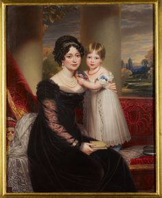 A portrait of Princess Victoria as a small girl with her mother, Victoria, Duchess of Kent, c1824. This portrait was painted by the artist Henry Bone (1755-1834) and was acquired by Queen Victoria c1861.