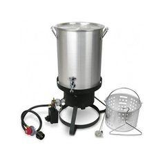 Turkey-Fryer-Deep-Fat-Propane-Poultry-Cook-Outdoor-Boil-Oil-Smoker-Seafood-Steel