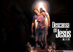 """Fondo de pantalla con el texto: """"Descansa en Jesús"""""""