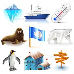 Antarctica Icons Set by andegro4ka Antarctica Icons Detailed Photo Realistic Vector Set Zip file includes: - eps10, editable vector- high-resolution jpg- layered ra