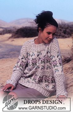 DROPS Sweater in Muskat with lace and rose pattern. Free pattern by DROPS Design. Jumper Knitting Pattern, Fair Isle Knitting Patterns, Knitting Designs, Crochet Patterns, Drops Design, Tweed, Summer Knitting, Free Knitting, Jumpers For Women
