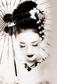 Geisha for Halloween. (Image via Memoirs of a Geisha) Geisha Kunst, Geisha Art, Geisha Book, Geisha Drawing, Japanese Culture, Japanese Art, Japanese Kimono, Kimono Japan, Japanese Painting