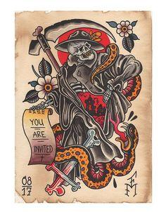 Traditional Tattoo Sketches, Traditional Tattoo Old School, Traditional Tattoo Design, Traditional Tattoos, Traditional Tattoo Back Piece, Traditional Tattoo Flash Art, William Turner, Traditional Tattoo Grim Reaper, 1 Tattoo
