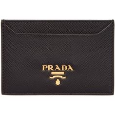 Prada Black Leather Card Holder (910 SAR) ❤ liked on Polyvore featuring bags, wallets, black, genuine leather credit card holder wallet, leather bags, real leather bags, leather wallets and card holder wallet
