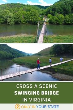 If you're looking for a fun, scenic hike, check out this swinging bridge over the Clinch River in Vermont. The trail is a perfect outdoor adventure for brave souls and thrill-seekers! Best Places To Travel, Vacation Places, Vacation Spots, Places To Visit, Vacation Ideas, Chesapeake Bay Bridge, Virginia Vacation, Future Travel, Amazing Adventures