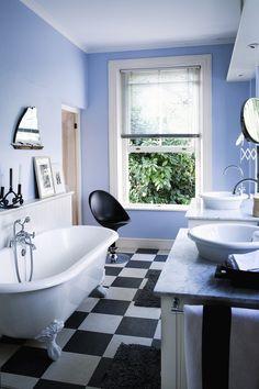 We love the freestanding bath in this stylish bathroom.