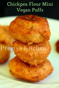 Preety's Kitchen: Chickpea Flour Mini Puffs / Easy Vegan Gluten Free Snack Recipe / Besan Ke Pakode( Step By Step Pictures)