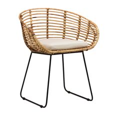 The Pablo Dining Chair by Dovetail is part an eclectic range of handmade furniture, accessories and textiles. Iron legs in black finish Handwoven rattan frame Loose cushion , seat height 18 Rattan Dining Chairs, Rattan Furniture, Handmade Furniture, Living Room Chairs, Kitchen Furniture, Cool Furniture, Furniture Design, Lounge Chairs, Office Chairs