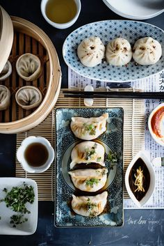 Dumplings: Pork with Shiitake Mushroom & Water Chestnuts; Chicken & Bamboo Shoots with Ginger; Prawn & Garlic Chives