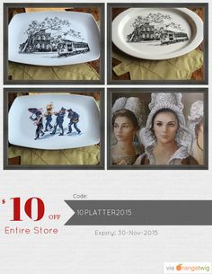 We are happy to announce $10.00 OFF our Entire Store. Coupon Code: 10PLATTER2015 Min Purchase: 40.00 Expiry: 30-Nov-2015 Click here to view all products:  Click here to avail coupon: https://orangetwig.com/shops/AABsu3Z/campaigns/AABsvDz?cb=2015011&sn=SuzanneOrmondPottery&ch=pin&crid=AABsvD8