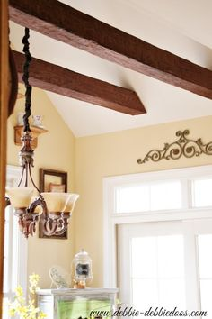 Home Improvement: Fake Faux Wood Beams - DIY Vaulted Kitchen Ceiling Beam Install - Lighter and Easier to work with.