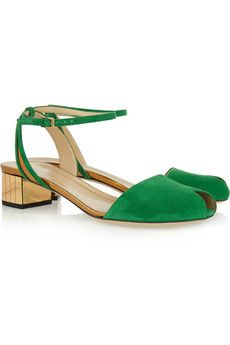 Gucci Suede and metallic peep-toe sandals | NET-A-PORTER