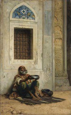 mendicant at the Mosque door , Stanislaus von Chlebowski 1835 - 1884 Empire Ottoman, Middle Eastern Art, Arabian Art, Islamic Paintings, Pics Art, Historical Art, Renoir, Ancient Art, Islamic Art
