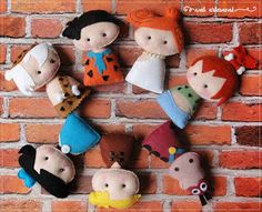 Welcome to Wal Artesanal Shop, You are purchasing a PATTERN ONLY (PDF) for a The Flintstones Pocket Version. -> With this pattern you can create finger puppets, using pattern head and details of the clothes Felt Diy, Felt Crafts, Diy And Crafts, Felt Dolls, Doll Toys, Sewing Crafts, Sewing Projects, Felt Finger Puppets, Cute Plush