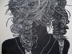 Woodblock print: After the Swim. $100.00, via Etsy.    The braids of my young niece after a day spent swimming were a wonderful contained mess. I built and exaggerated the texture and depth of each hair into the wood with my carving tools to create a contrast of light and dark.