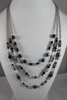 Sister-in-Law Necklace with hematite and Swarovski pearls and beads