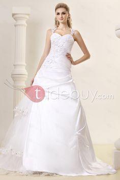 Amazing A-Line Straps Chapel Vintage Appliques Dasha's Wedding Dress