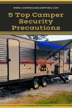 Do you ever question RV security? Don't be left the victim! Read on to learn how to secure your camper and valuables! Do you ever question RV security? Don't be left the victim! Read on to learn how to secure your camper and valuables! Caddy Camping, Rv Camping Tips, Travel Trailer Camping, Camping Car, Family Camping, Camping Essentials, Camping Stuff, Camping Supplies, Camping Cooking