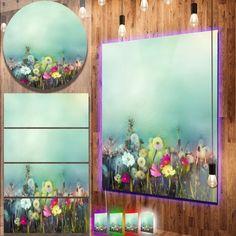 Designart 'Dandelion Poppy and Daisy Flowers' Flower Metal Wall Art