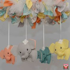 Elephant Mobile Baby Mobile Custom Mobile not by TayloredWhimsy, $90.00