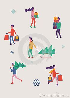 People are preparing for the new year. Flat design vector illustration.